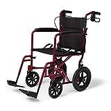 Medline Lightweight Transport Wheelchair with Handbrakes,...
