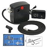 F2C TC-100 Dual Action Mini Air Compressor Airbrush Kit...