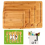 Boelley Bamboo Cutting Board set of 4 with 6 Utensils and 1...
