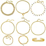 Gold Chain Necklace and Bracelet Sets for Women Girls Dainty...
