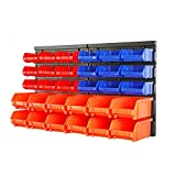 HORUSDY Wall Mounted Storage Bins Parts Rack 30PC Bin...