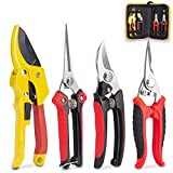 KOTTO 4 Pack Professional Bypass Pruning Shears, Stainless...