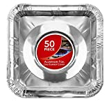 Gas Burner Liners (50 Pack) Disposable Aluminum Foil Square...