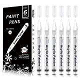 Paint Pens White Marker 6 Pack,0.7mm Acrylic White Permanent...