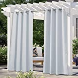 NICETOWN Greyish White Outdoor Curtain for Patio Waterproof,...