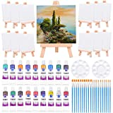 Mini Canvas and Easel, Paxcoo 60 Pieces Mini Canvas Painting...