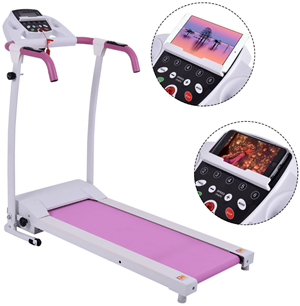 800w electric treadmill with rolling wheels