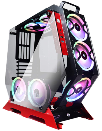 Kediers red atx open frame gaming computer case