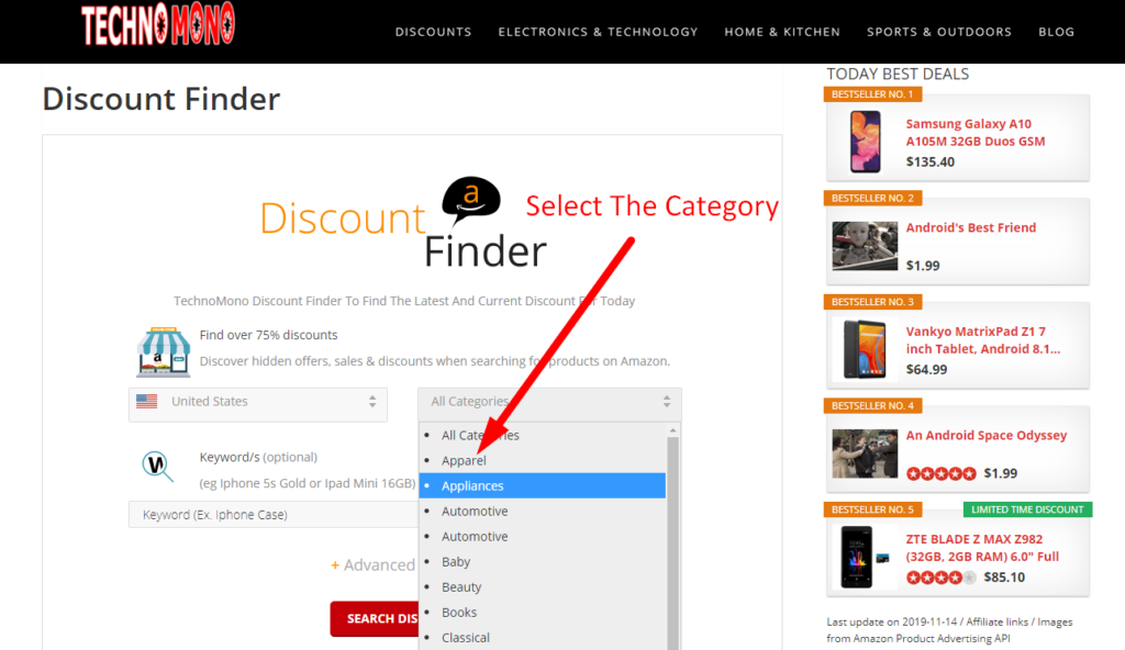 Technomono Discount Finder Step one