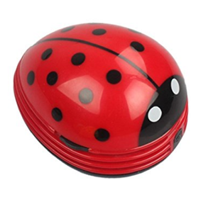 e ecsem cute portable beetle ladybug cartoon mini desktop vacuum desk dust cleaner red 1